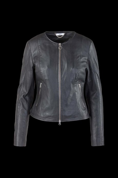 Leather Jacket Round Collar