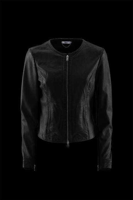 JACKET WOMEN'S LEATHER NECK NECKLINE