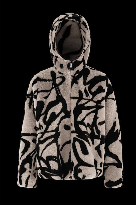 Printed faux fur with hood