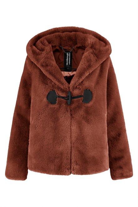 Short fur coat with hood