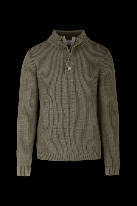 Buttons Collar Cold Dyed Cotton Sweater