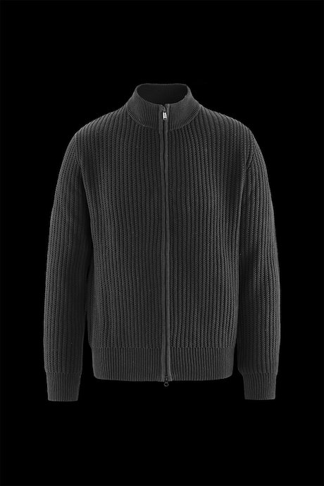 Ribbed Knit Cotton Sweater Zip