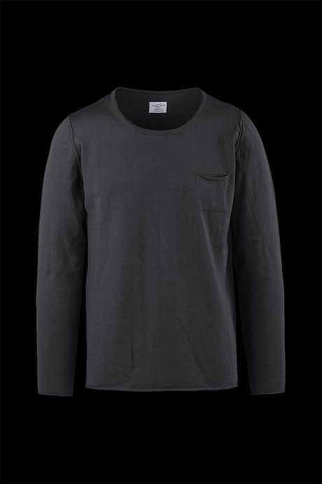 Cotton round neck sweater with pocket