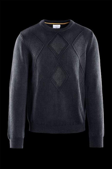 Cotton round neck sweater rhombus pattern