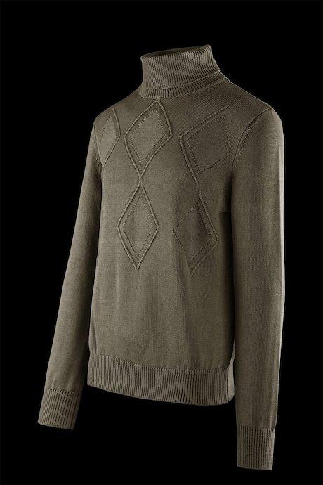 Cotton turtleneck sweater rhombus pattern