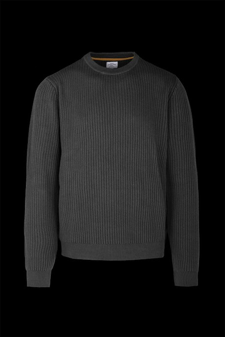Cotton tricot round neck sweater