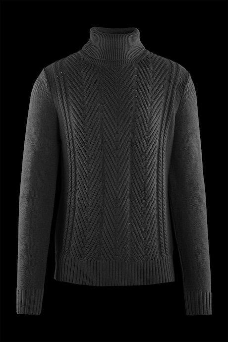 Jersey de cuello alto algodón con patrón trenzado