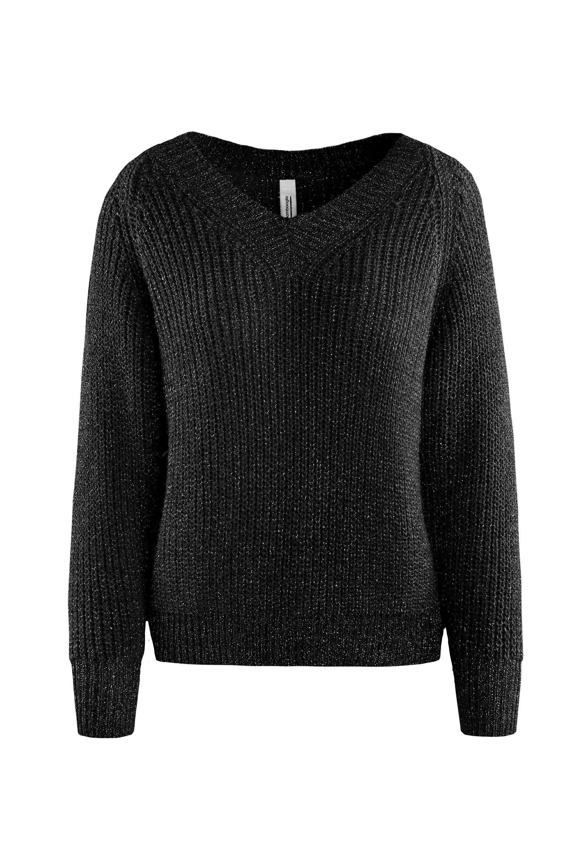 Sweater lurex V collar