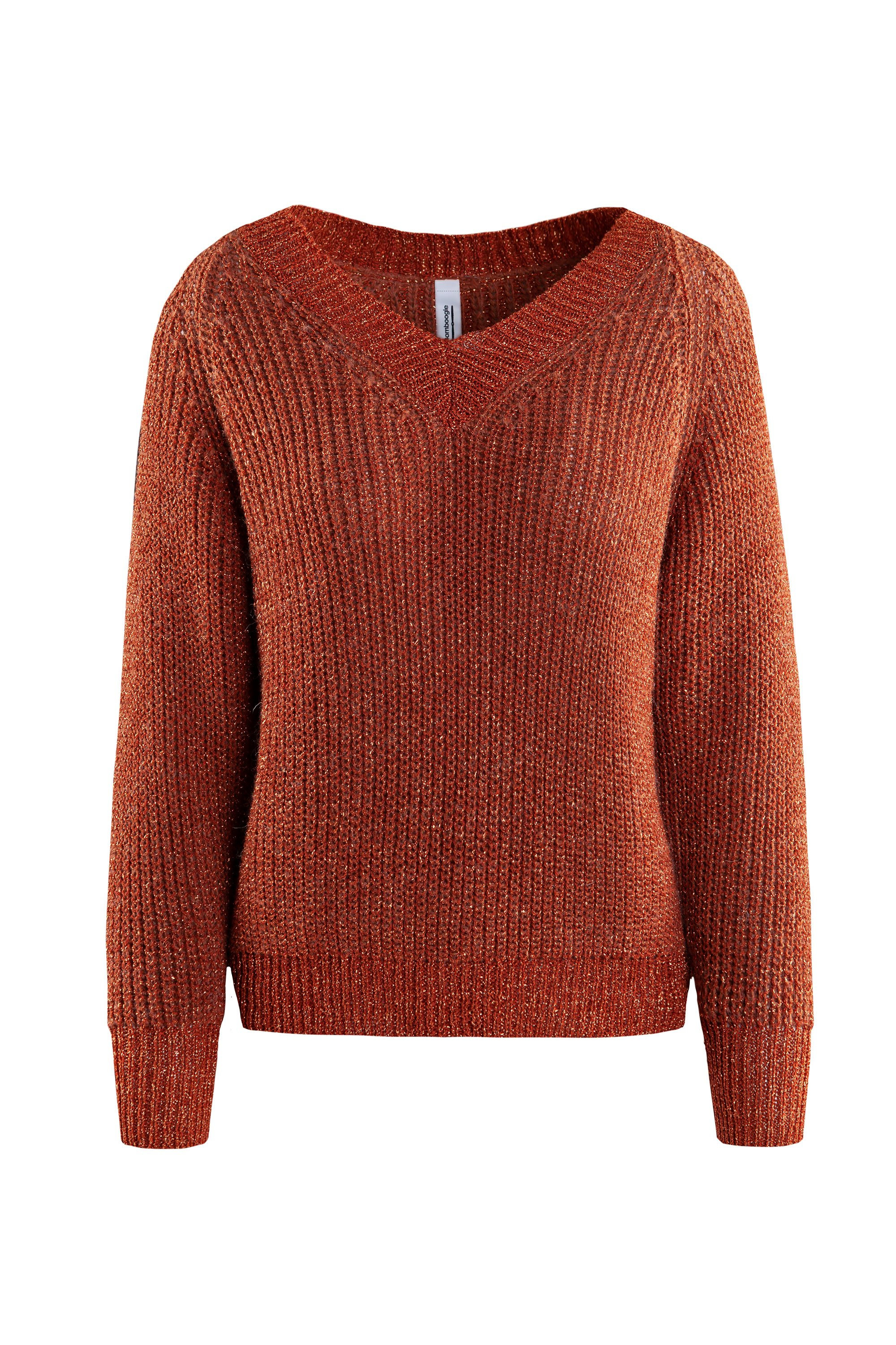 Sweater lurex V collar