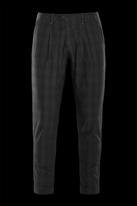 Trousers with pinces check pattern