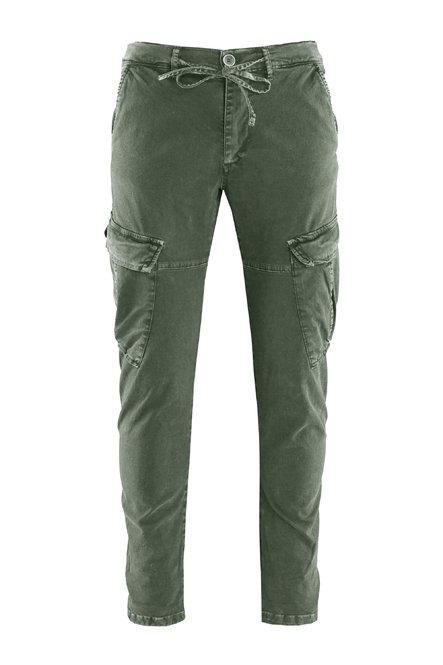 Pantaloni Nam in Gabardina di Cotone con Tasche Cargo