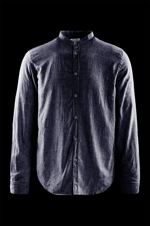 Hemd aus Baumwoll-Leinen mit koreanischem Kragen