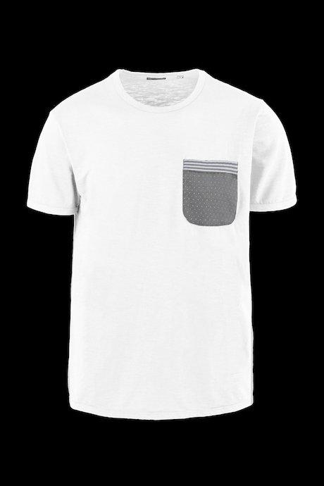 T-shirt Cotone Fiammato con Taschino Microstampa