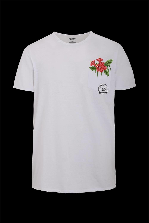 Cotton-linen T-shirt floral print