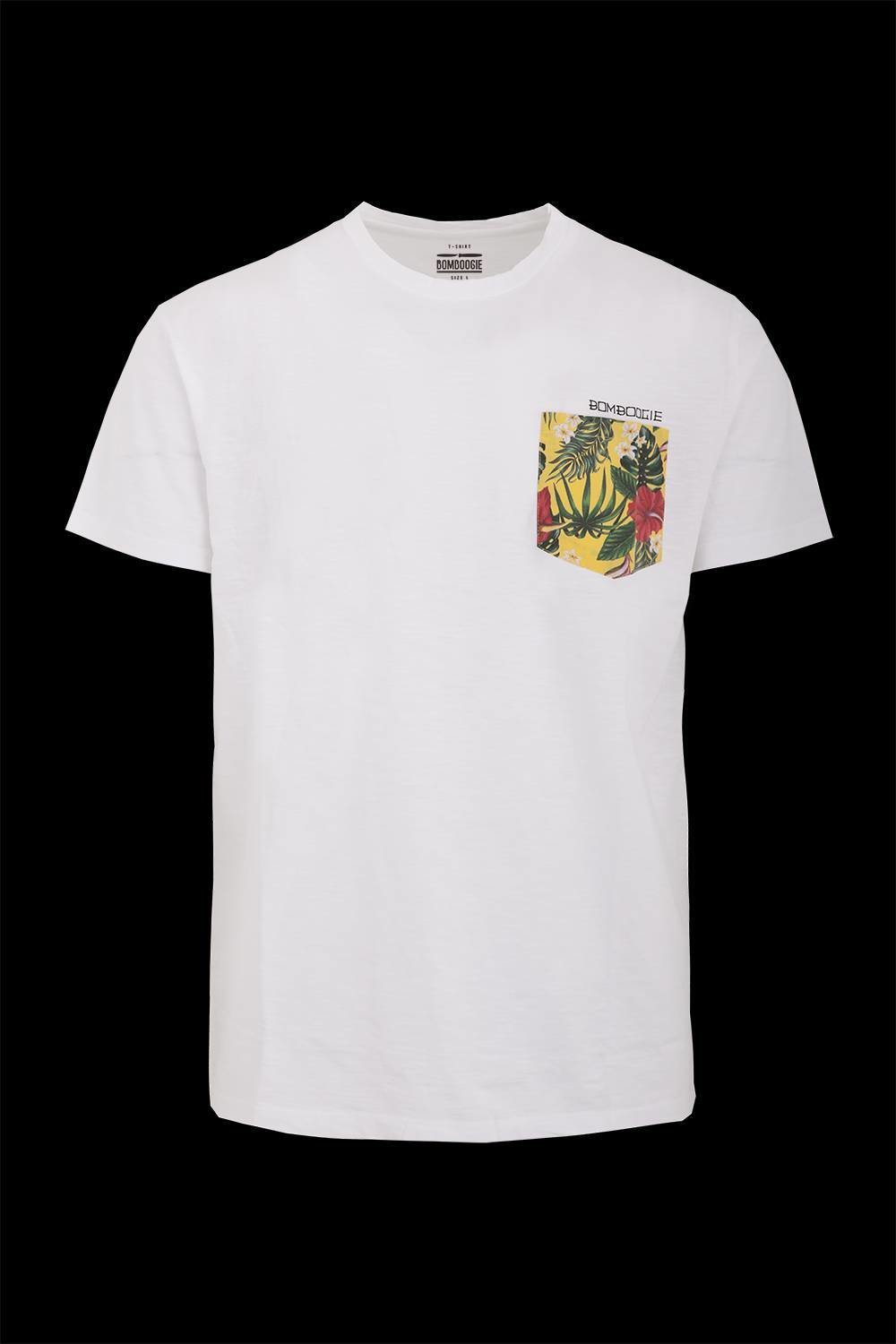 T-shirt with floral pocket