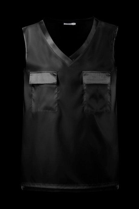 Bi material blouse V collar