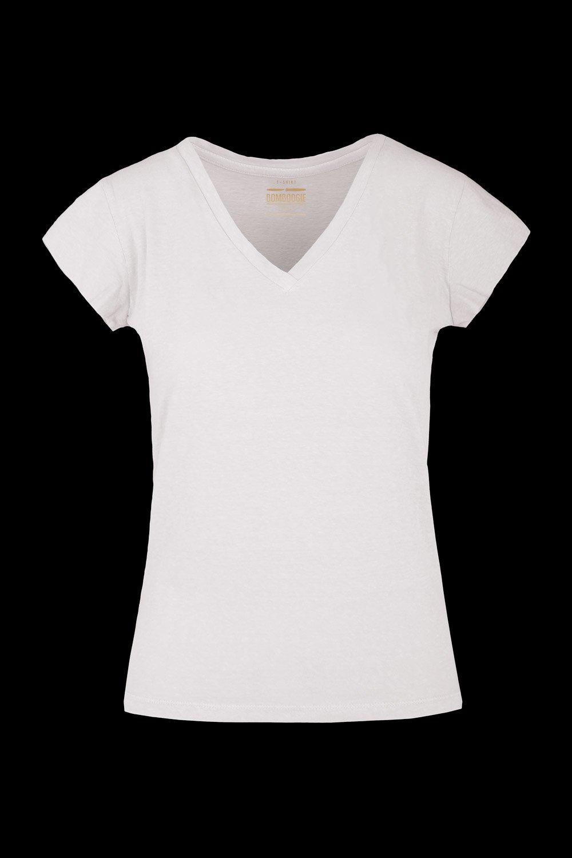 V collar T-shirt linen-cotton