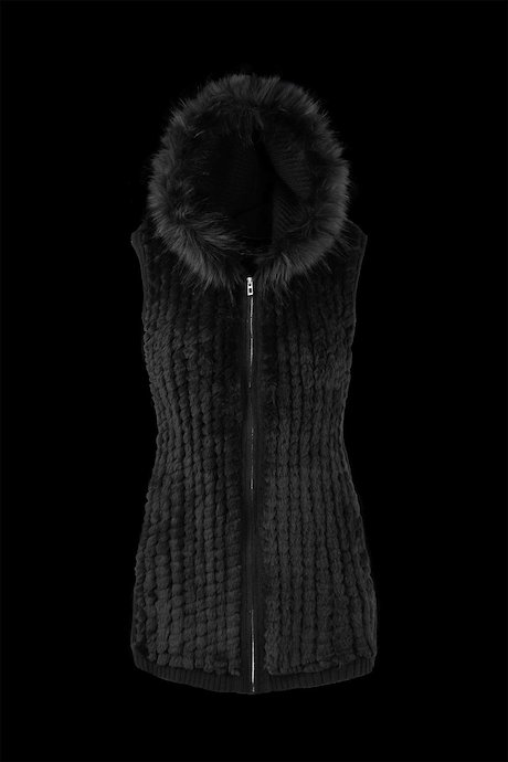 Vest Tricot with Faux Fur Inserts