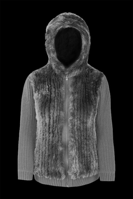 HOODIE TRICOT FAUX FUR INSERTS