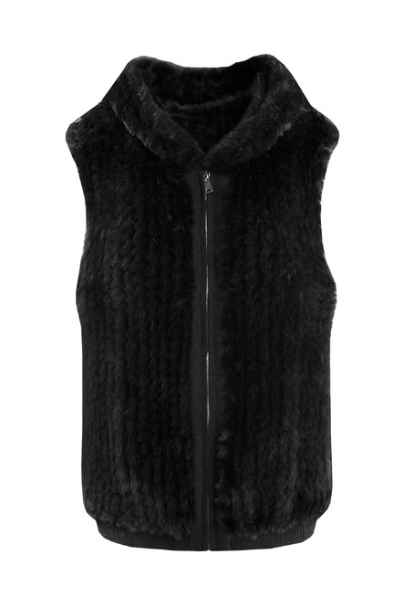 Faux fur and tricot vest