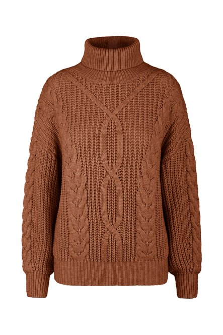 Tricot turtleneck with cable-knit effect