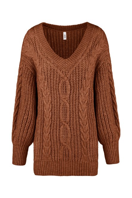 Tricot long sweater with cable-knit effect
