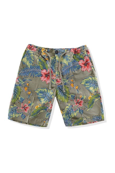 Shorts with floral print and drawstring waist