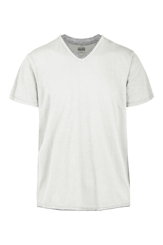 T-shirt V neck cotton-linen