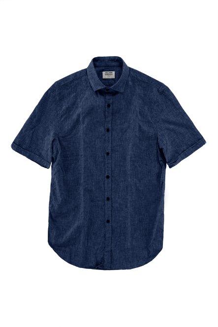 Kurzärmliges Hemd aus Baumwoll-Leinen