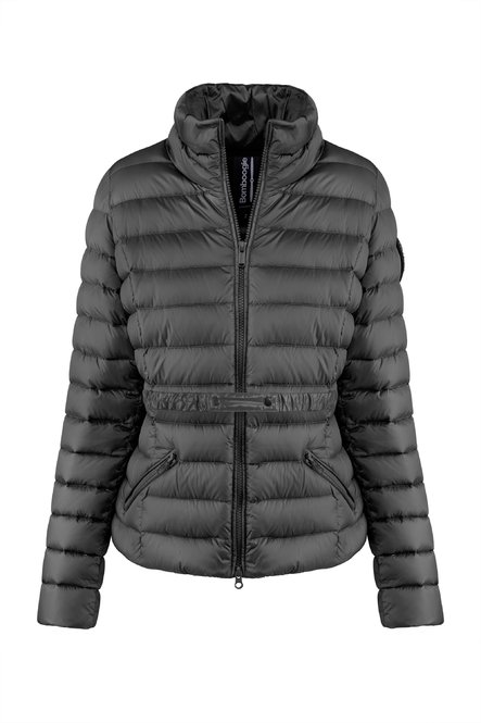 Down jacket with belt in bright nylon