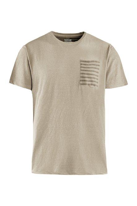 T-Shirt mit Brusttasche und gestreifter Rückseite