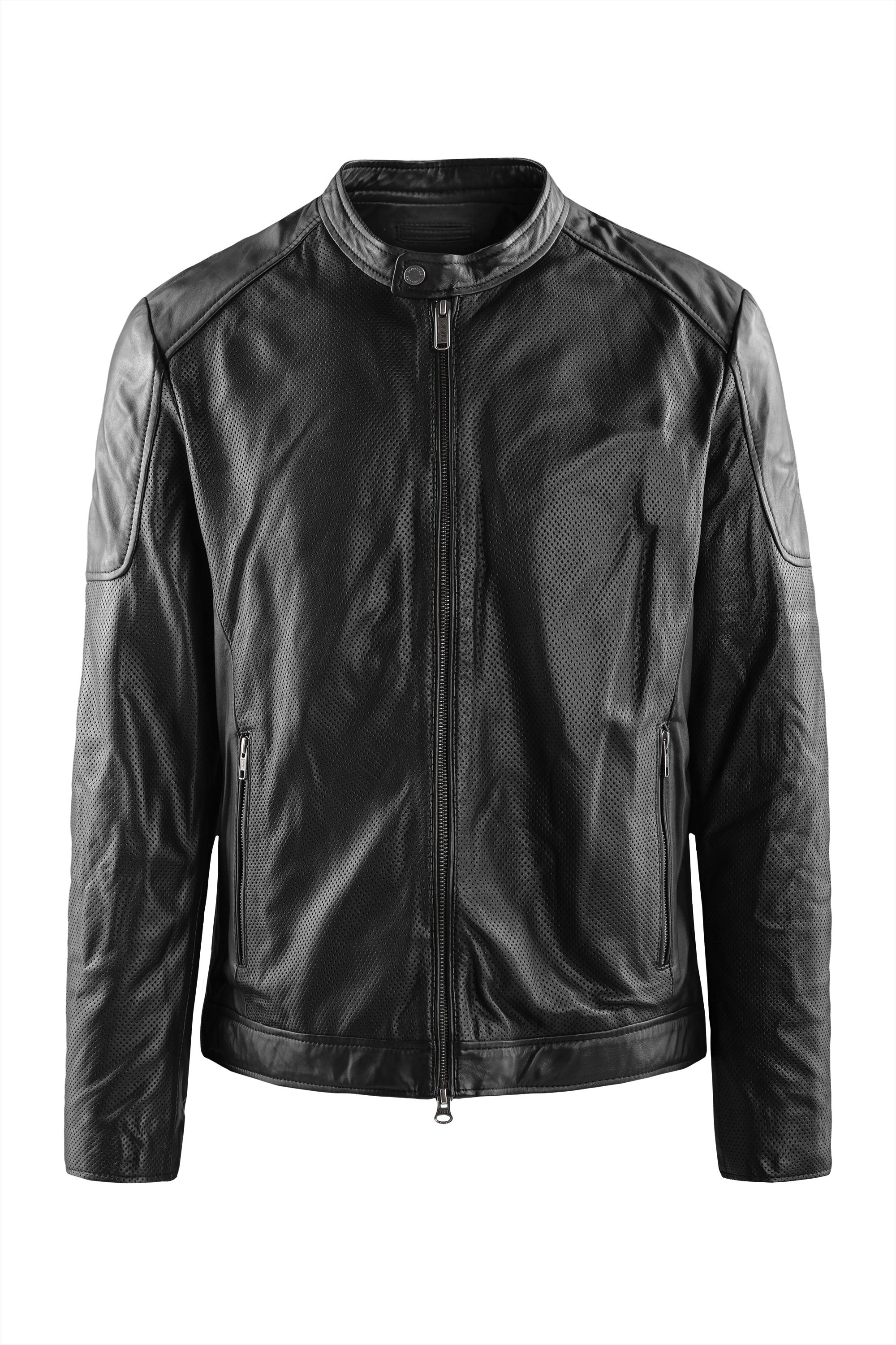Clan pierced leather jacket