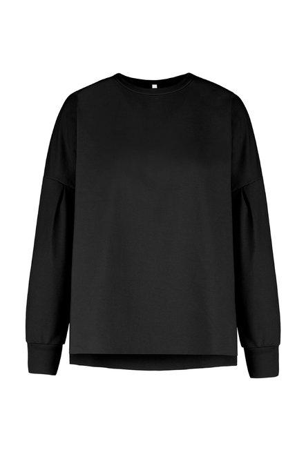 Round collar sweater in stretch cotton