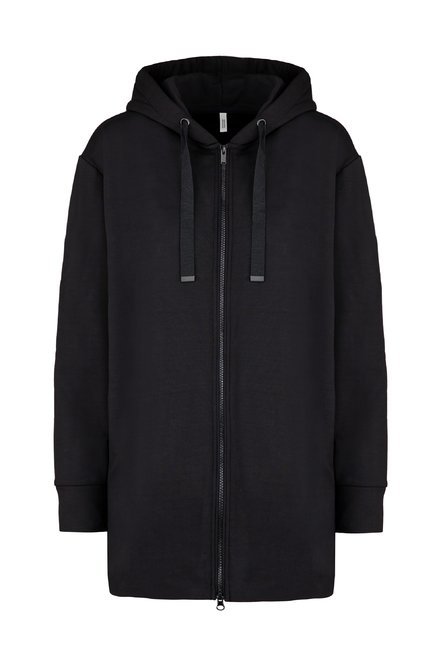 Long hoodie in stretch cotton