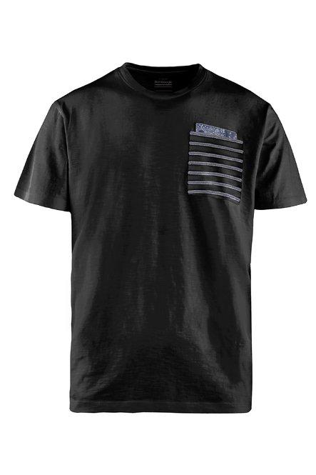 T-Shirt mit gestreifter Brusttasche