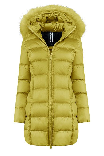 Bright nylon down jacket with real fur hood
