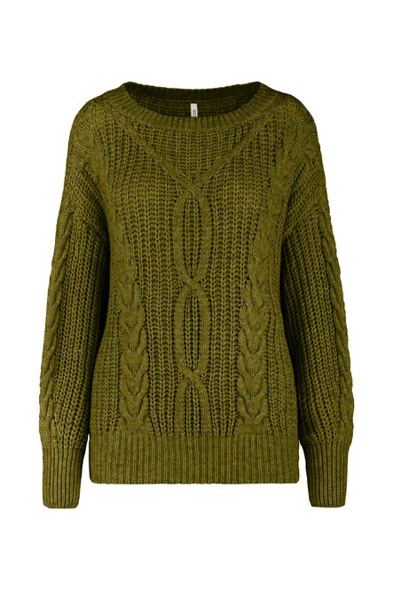 Tricot sweater oversized with cable-knit effect