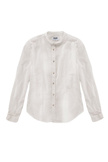 Camicia in Lino-Cotone con Collo alla Coreana