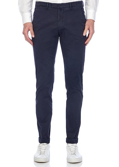 Slim fit slash pocket trousers gabardine with cuffs - Blu Navy