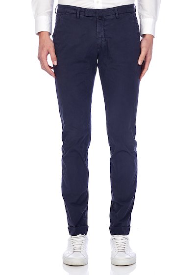 Slim fit slash pocket trousers poplin vintage effect with cuffs - Blue