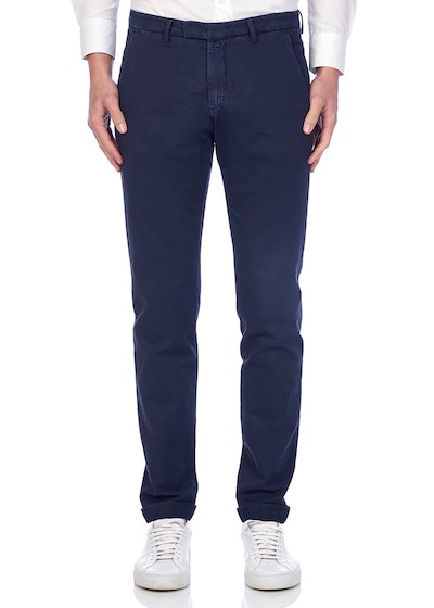 Slim fit slash pocket trousers dyed drill linen blend with cuffs
