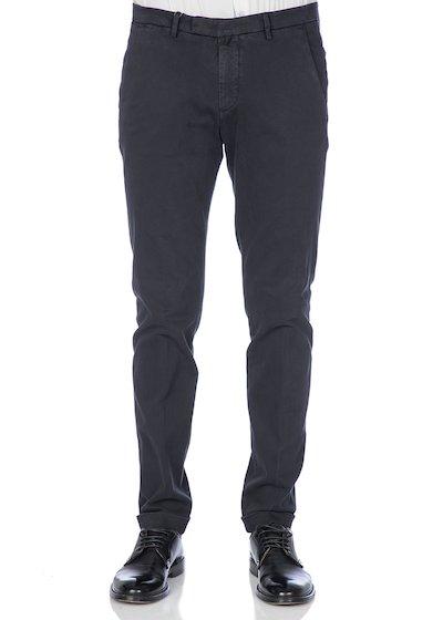 Gabardine slim fit slash pocket trousers  with cuffs - Blue Navy