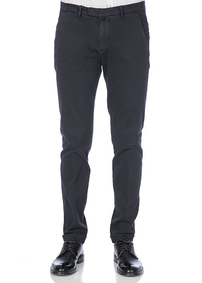 Gabardine slim fit slash pocket trousers  with cuffs