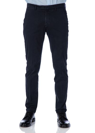 Satin slim fit slash pocket trousers - Blue Navy