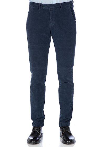 Pantalone tasca america slim fit con risvolto e microarmatura in velluto