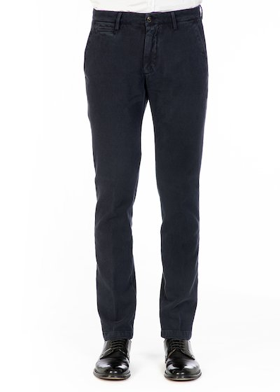 Casual slim fit trousers in cotton honey comb - Blue Navy