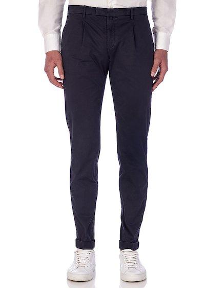 Slim fit slash pocket trousers satin with cuffs - Blu Navy