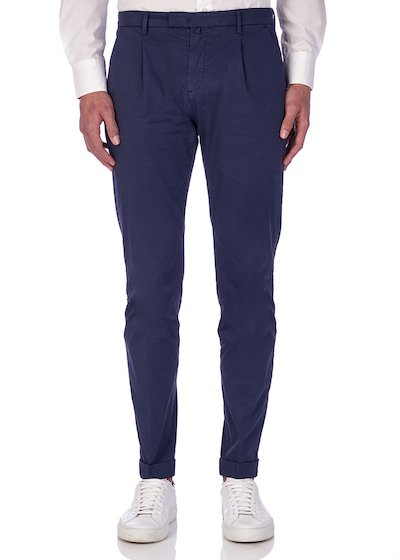 Slim fit slash pocket trousers twill microweaving with cuffs - Dark Blu