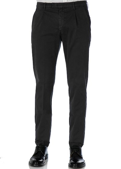 Satin comfort slim fit  trousers with pleated  and cuffs