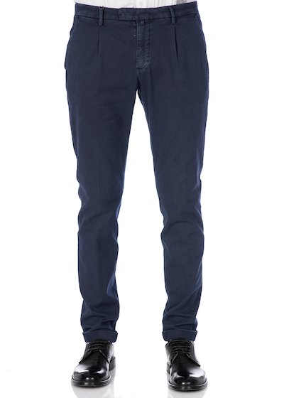 Slim fit trousers with pleated  and cuffs - Blue Navy
